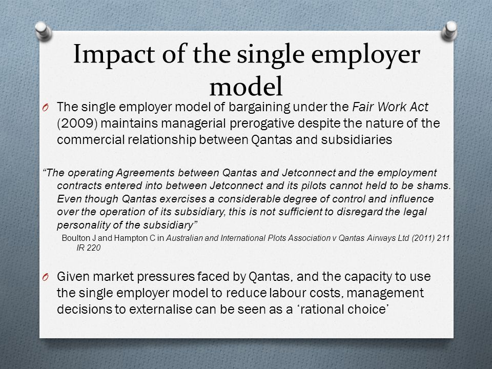 Impact of the single employer model