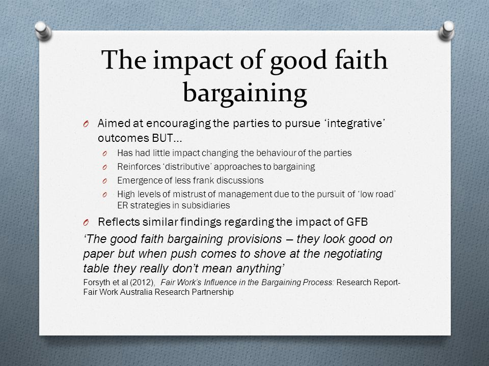 The impact of good faith bargaining