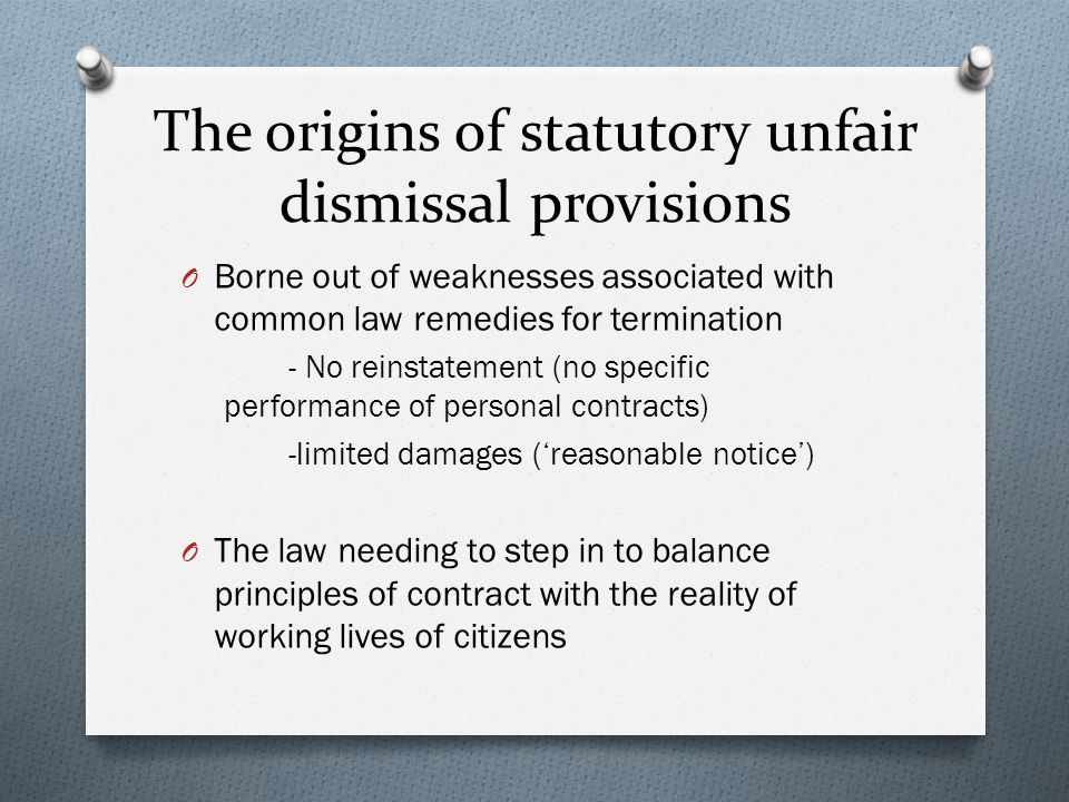 The origins of statutory unfair dismissal provisions