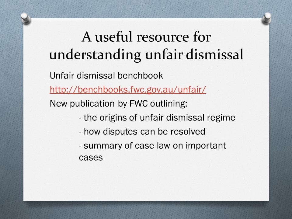 A useful resource for understanding unfair dismissal