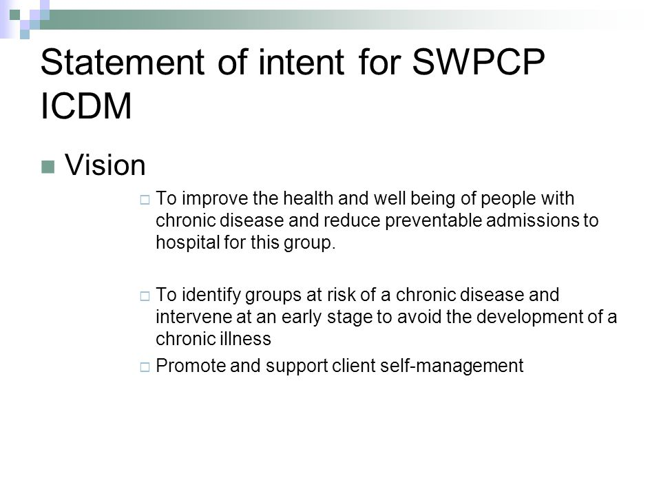 Statement of intent for SWPCP ICDM
