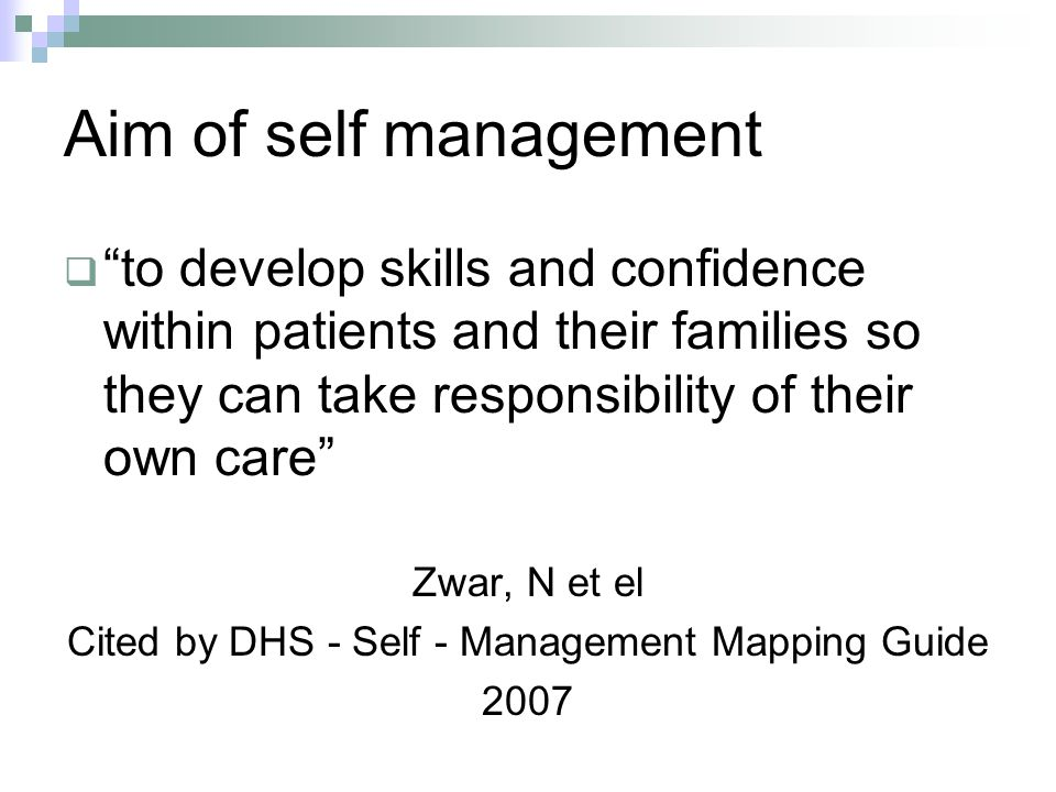 Cited by DHS - Self - Management Mapping Guide
