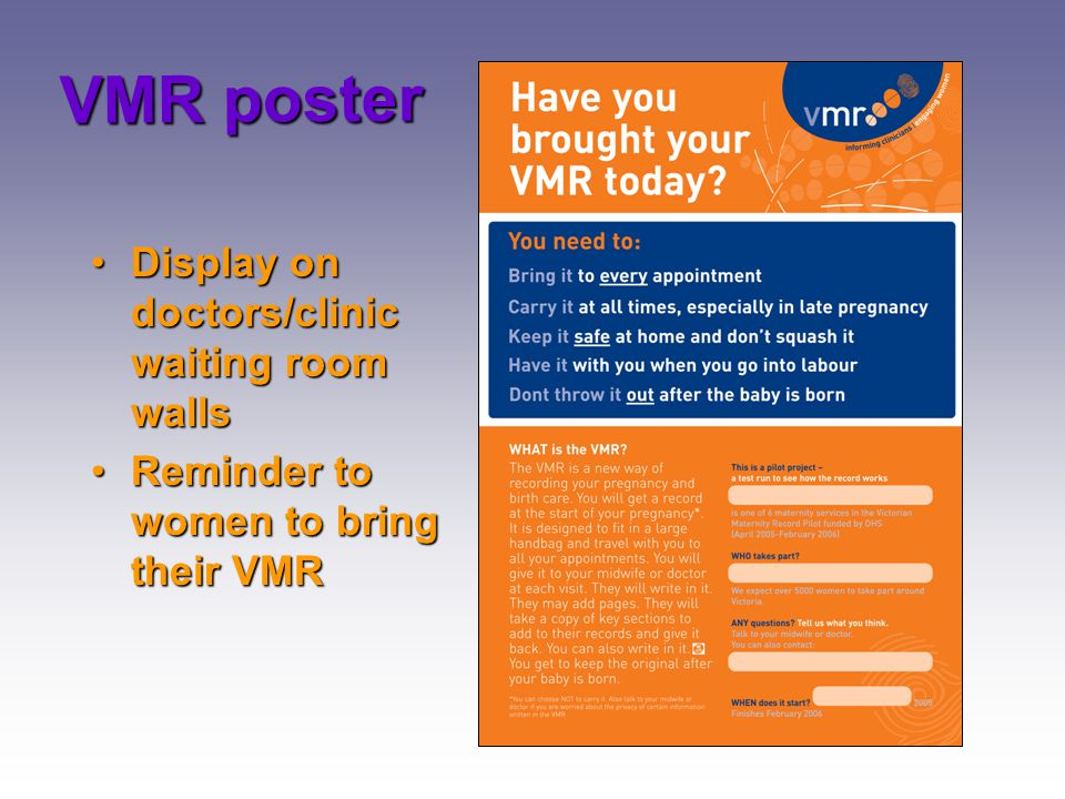 VMR poster Display on doctors/clinic waiting room walls