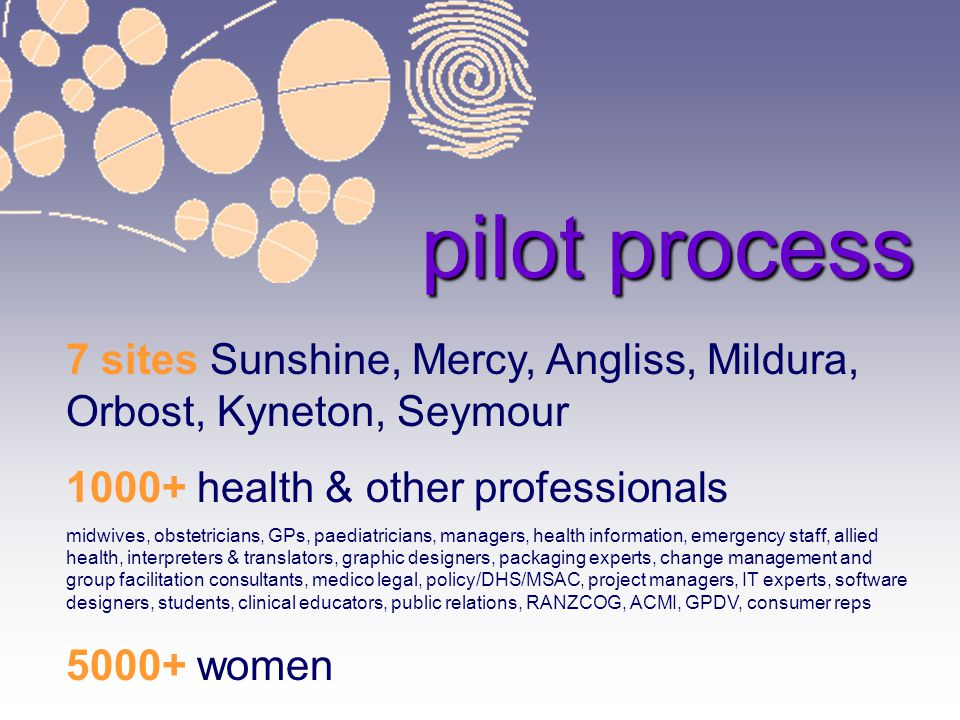 6/04/2017 pilot process. 7 sites Sunshine, Mercy, Angliss, Mildura, Orbost, Kyneton, Seymour health & other professionals.