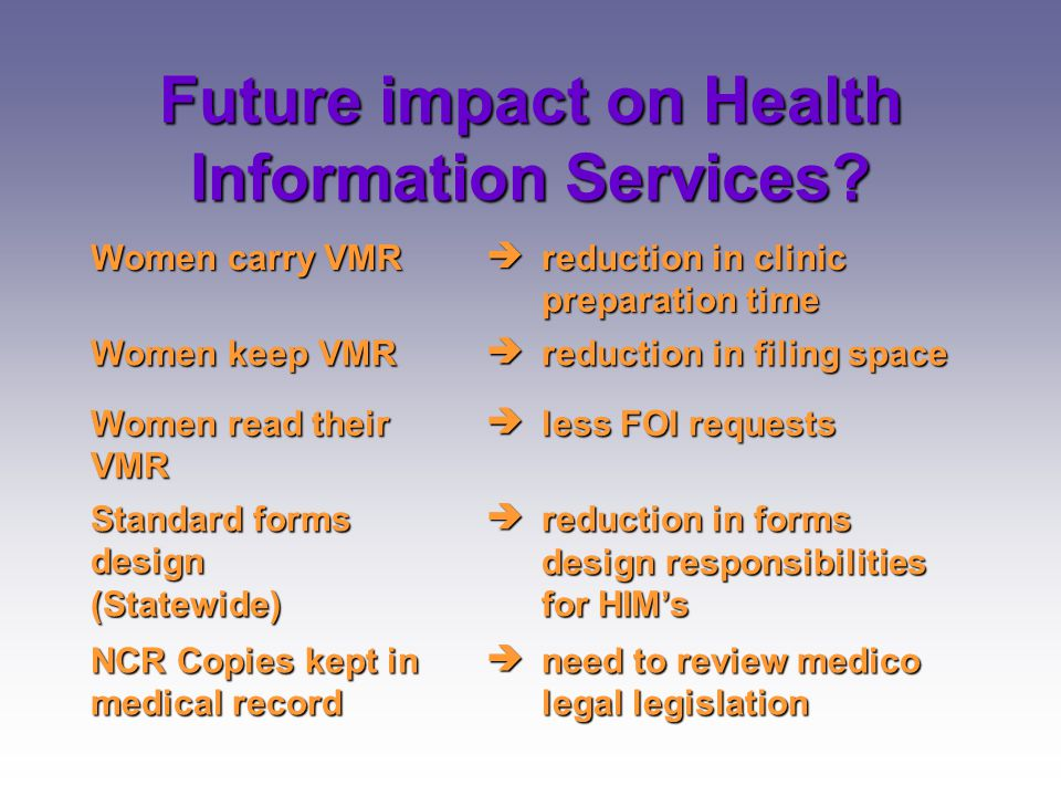 Future impact on Health Information Services