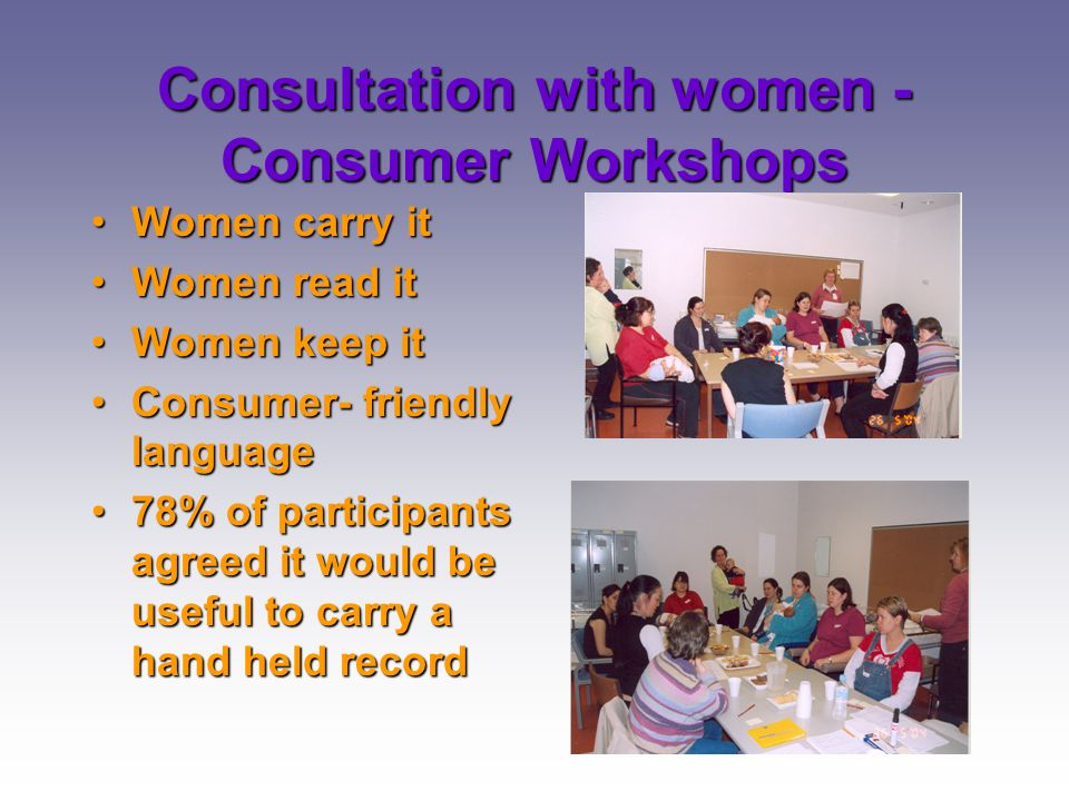 Consultation with women -Consumer Workshops