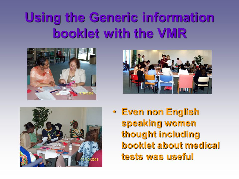 Using the Generic information booklet with the VMR