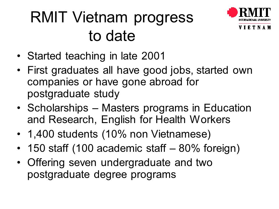 RMIT Vietnam progress to date