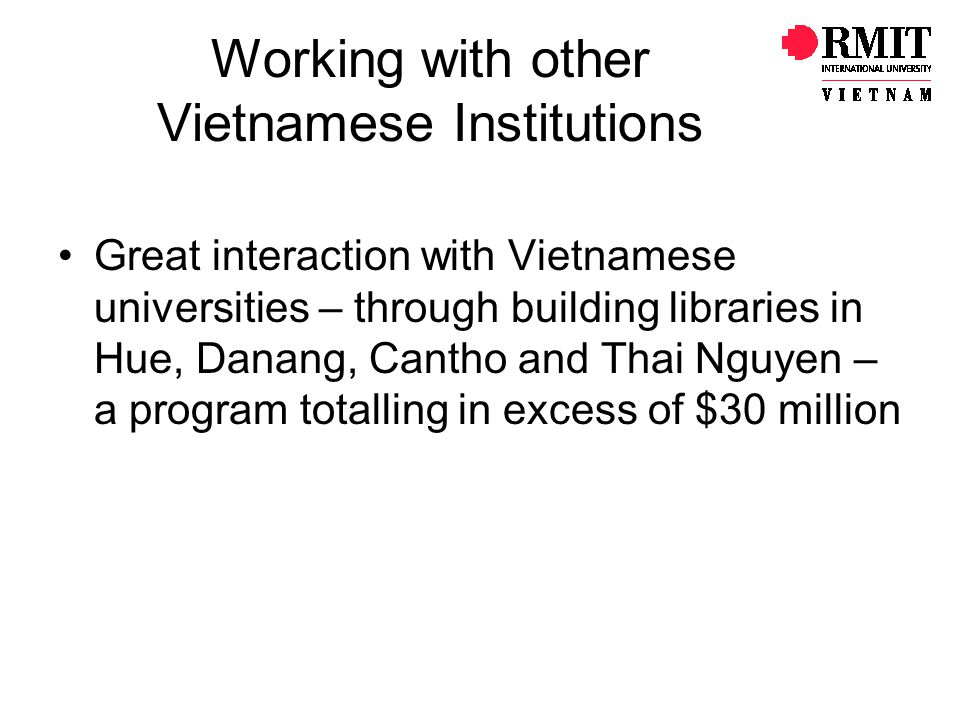 Working with other Vietnamese Institutions
