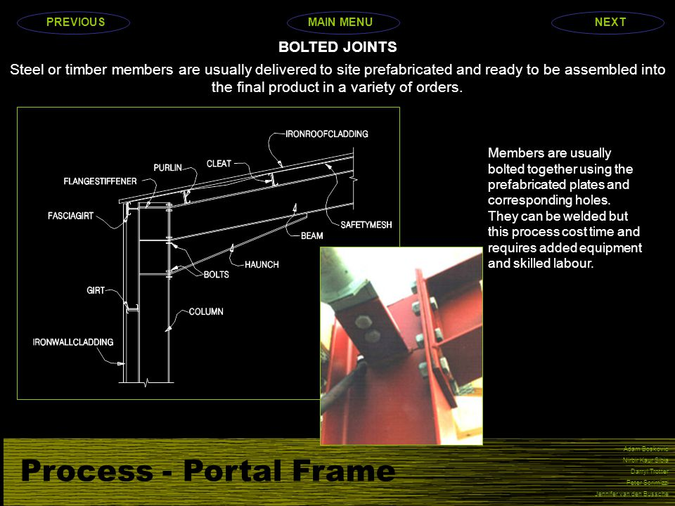 Process - Portal Frame BOLTED JOINTS