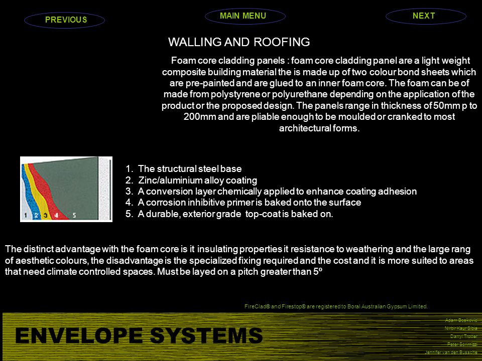ENVELOPE SYSTEMS WALLING AND ROOFING