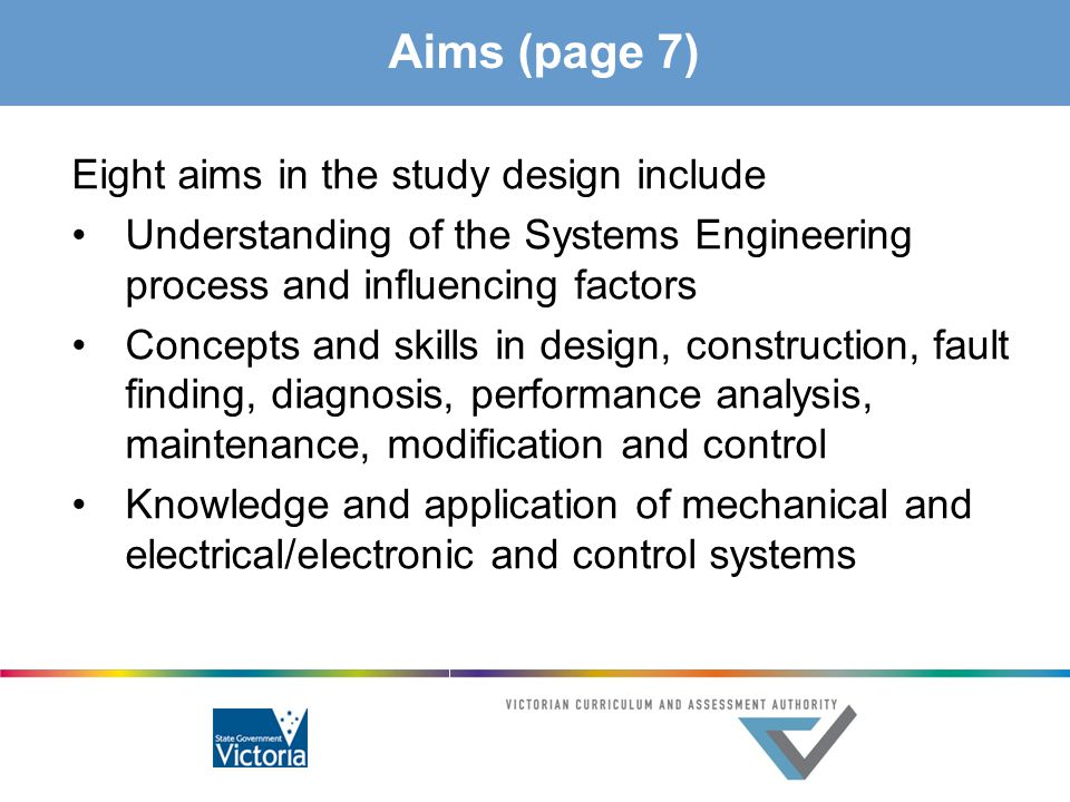 Aims (page 7) Eight aims in the study design include