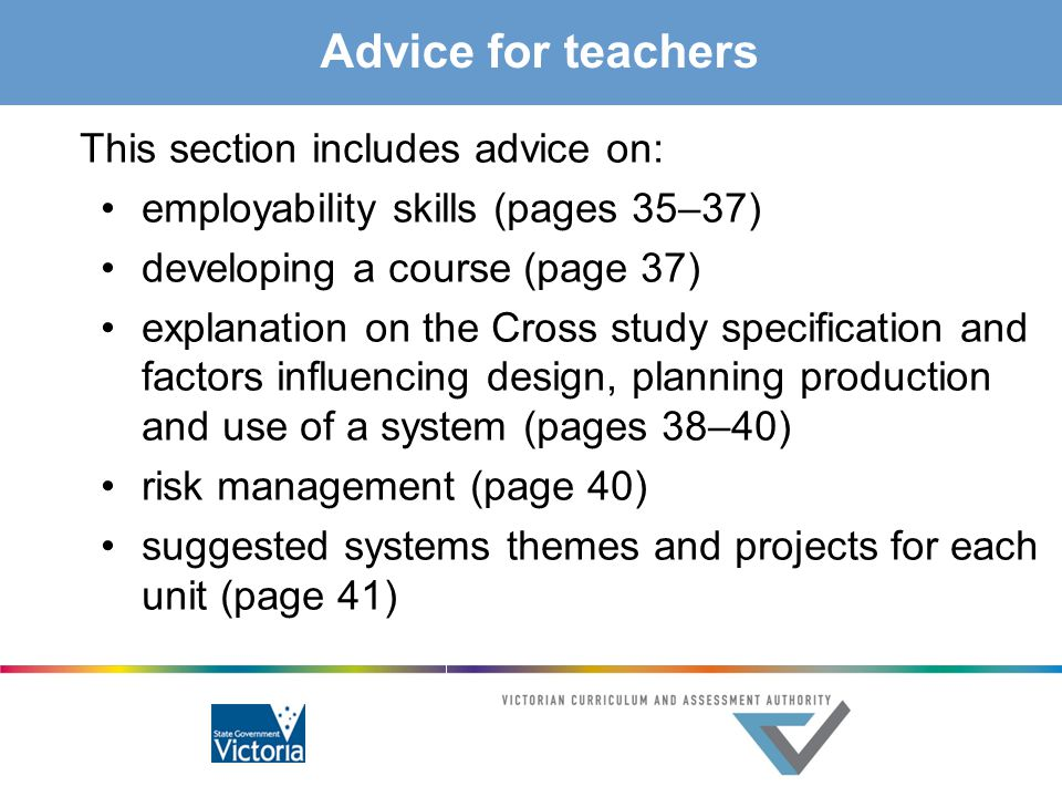Advice for teachers This section includes advice on: