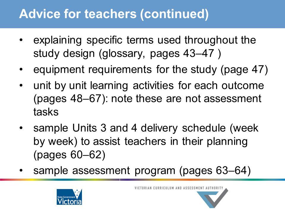 Advice for teachers (continued)