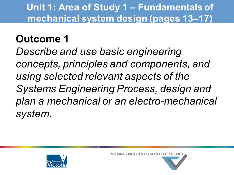 Unit 1: Area of Study 1 – Fundamentals of mechanical system design (pages 13–17)