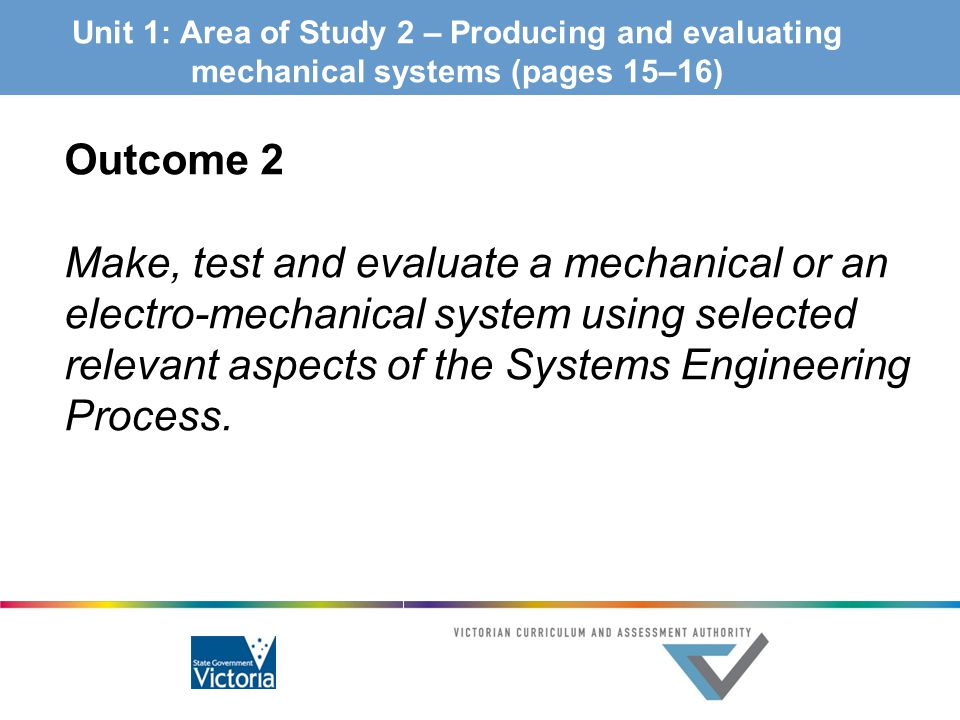 Unit 1: Area of Study 2 – Producing and evaluating mechanical systems (pages 15–16)