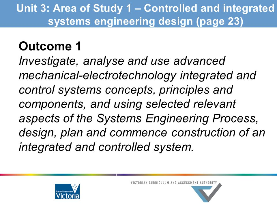 Unit 3: Area of Study 1 – Controlled and integrated systems engineering design (page 23)