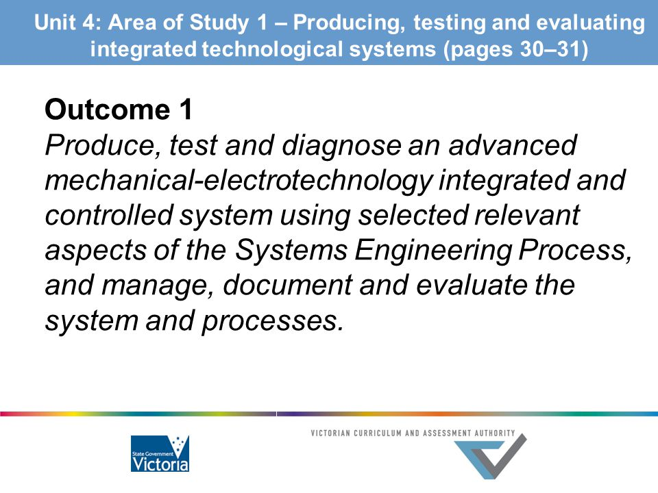 Unit 4: Area of Study 1 – Producing, testing and evaluating integrated technological systems (pages 30–31)