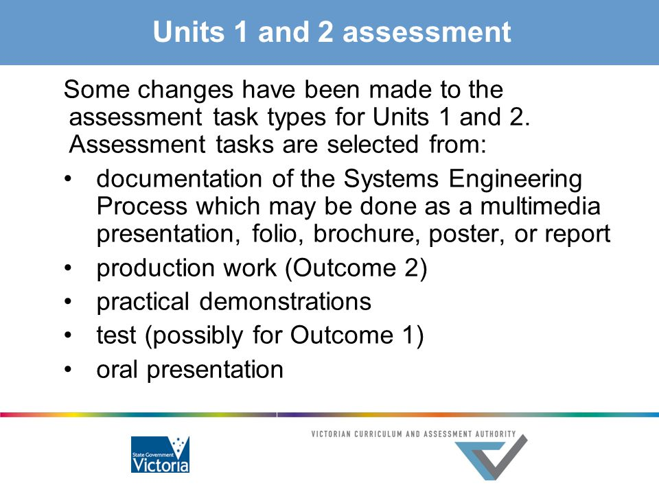 Units 1 and 2 assessment Some changes have been made to the assessment task types for Units 1 and 2. Assessment tasks are selected from: