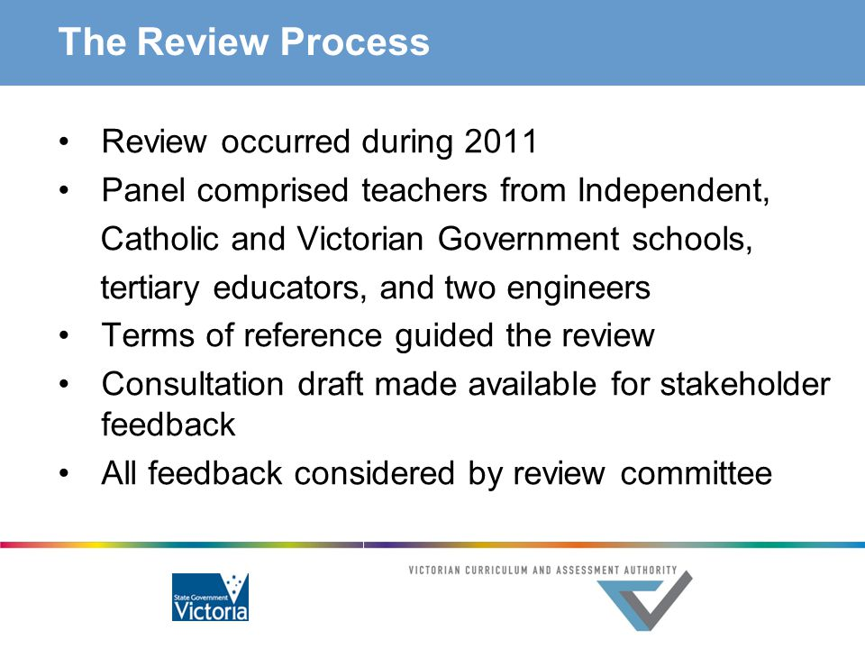 The Review Process Review occurred during 2011