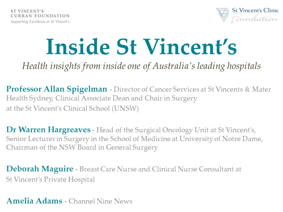 Inside St Vincent's Health insights from inside one of Australia's leading hospitals