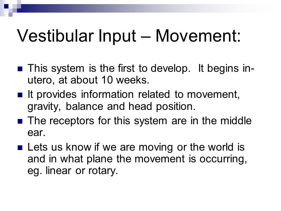 Vestibular Input – Movement: