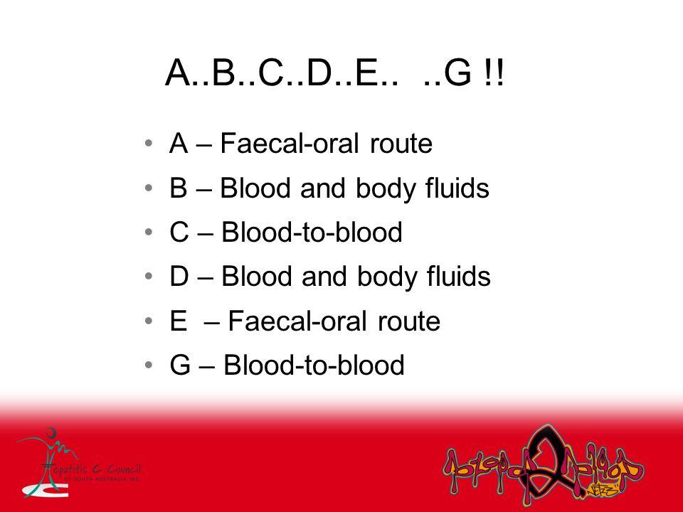 A..B..C..D..E.. ..G !! A – Faecal-oral route B – Blood and body fluids