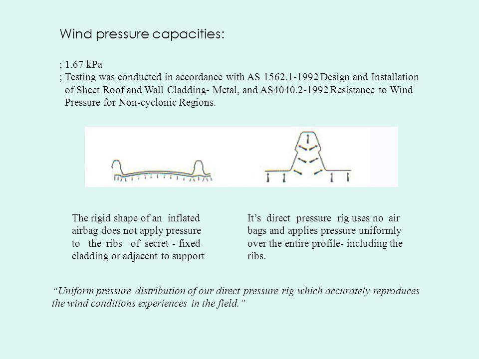 Wind pressure capacities: