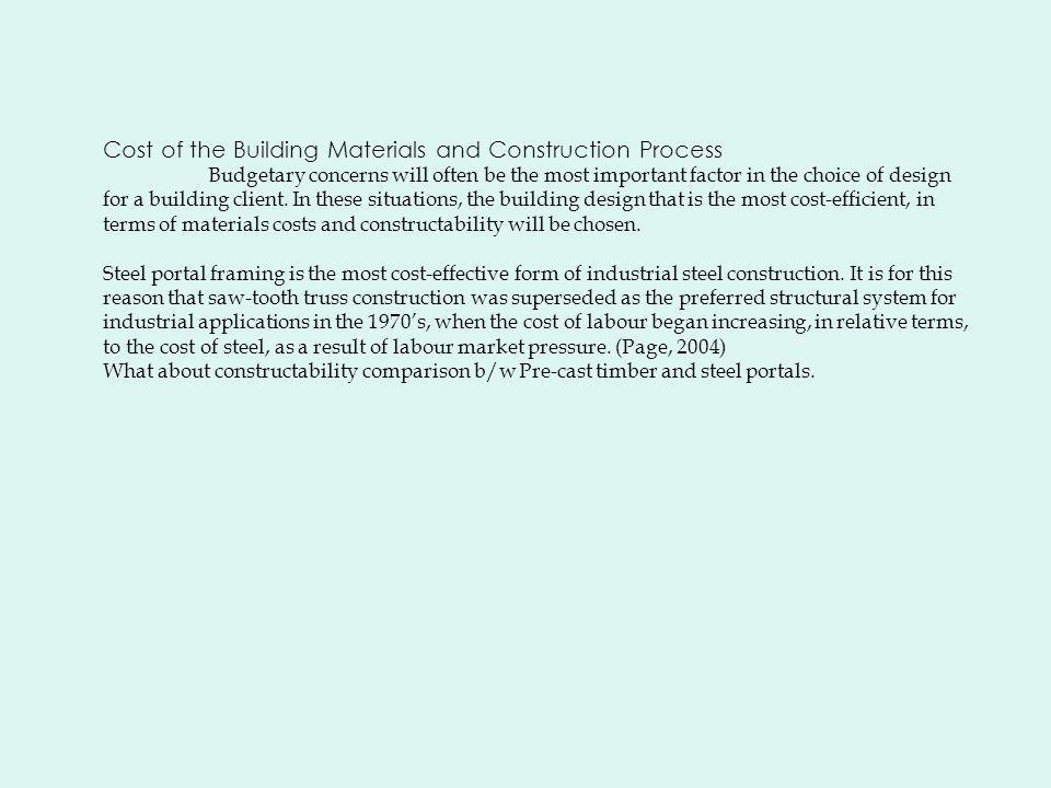 Cost of the Building Materials and Construction Process