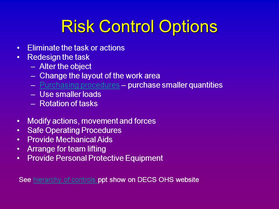 Risk Control Options Eliminate the task or actions Redesign the task