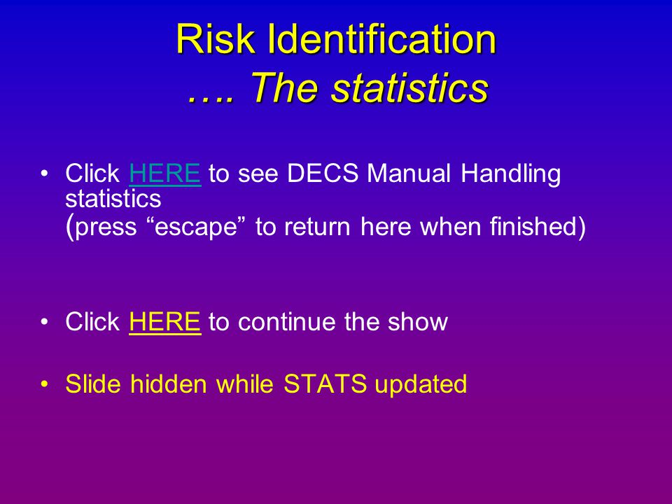 Risk Identification …. The statistics