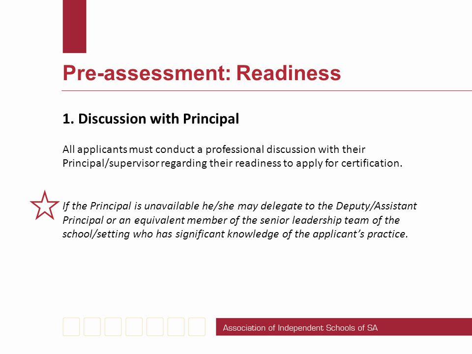 Pre-assessment: Readiness