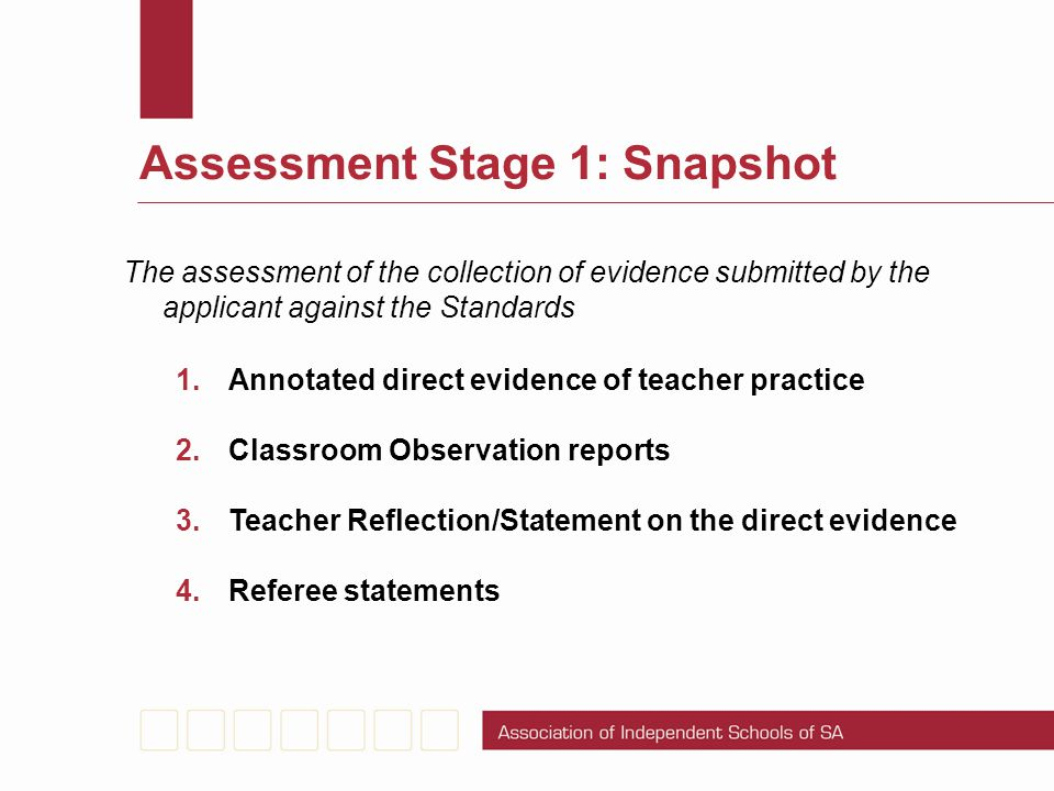Assessment Stage 1: Snapshot