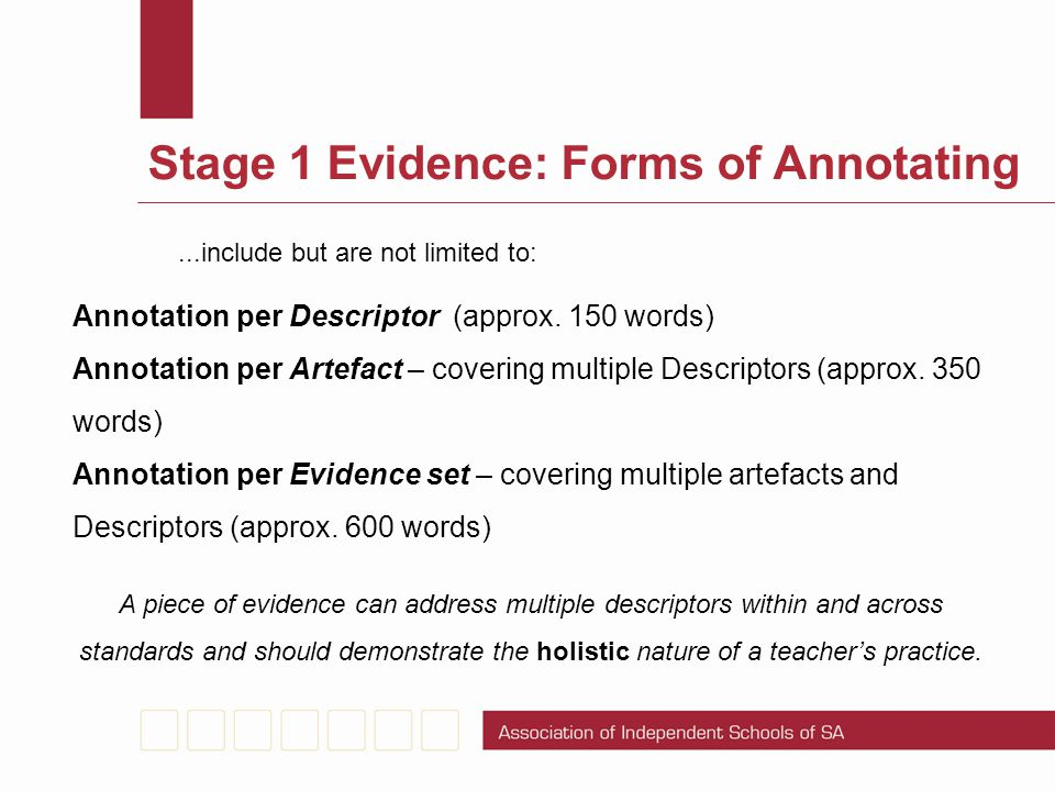 Stage 1 Evidence: Forms of Annotating