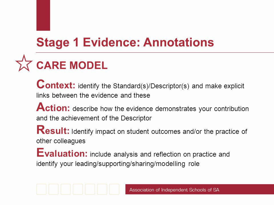 Stage 1 Evidence: Annotations
