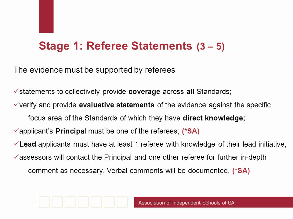 Stage 1: Referee Statements (3 – 5)