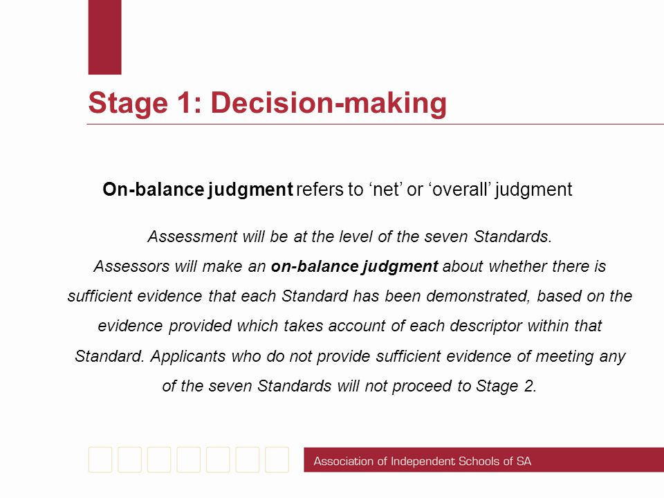 Stage 1: Decision-making