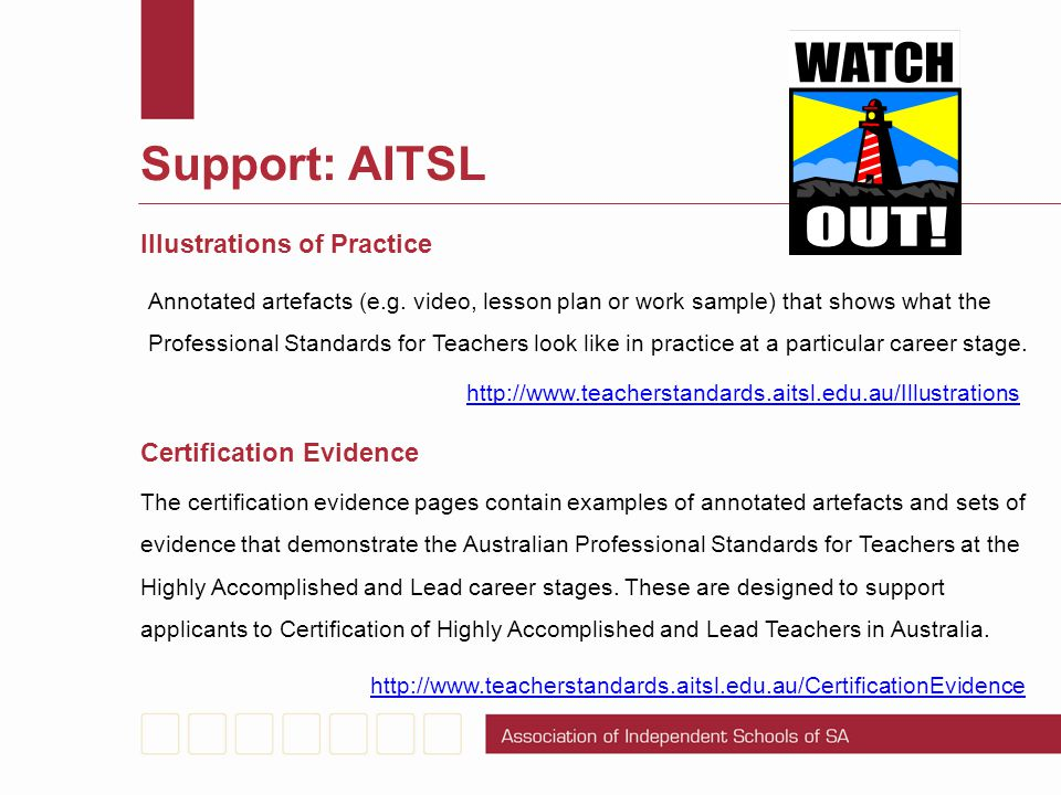 Support: AITSL Illustrations of Practice Certification Evidence