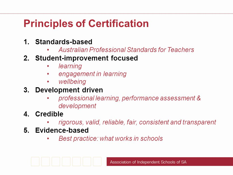 Principles of Certification