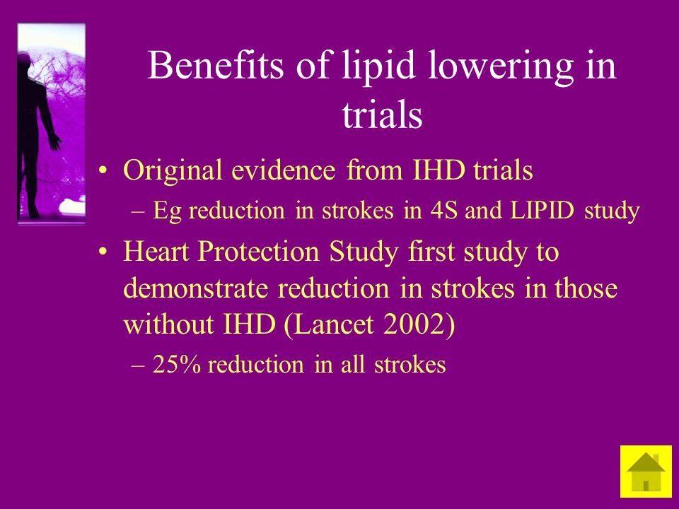 Benefits of lipid lowering in trials