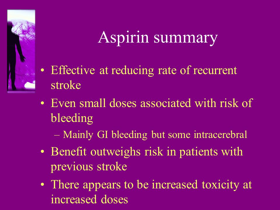 Aspirin summary Effective at reducing rate of recurrent stroke