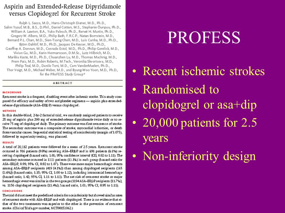 PROFESS Recent ischemic strokes Randomised to clopidogrel or asa+dip