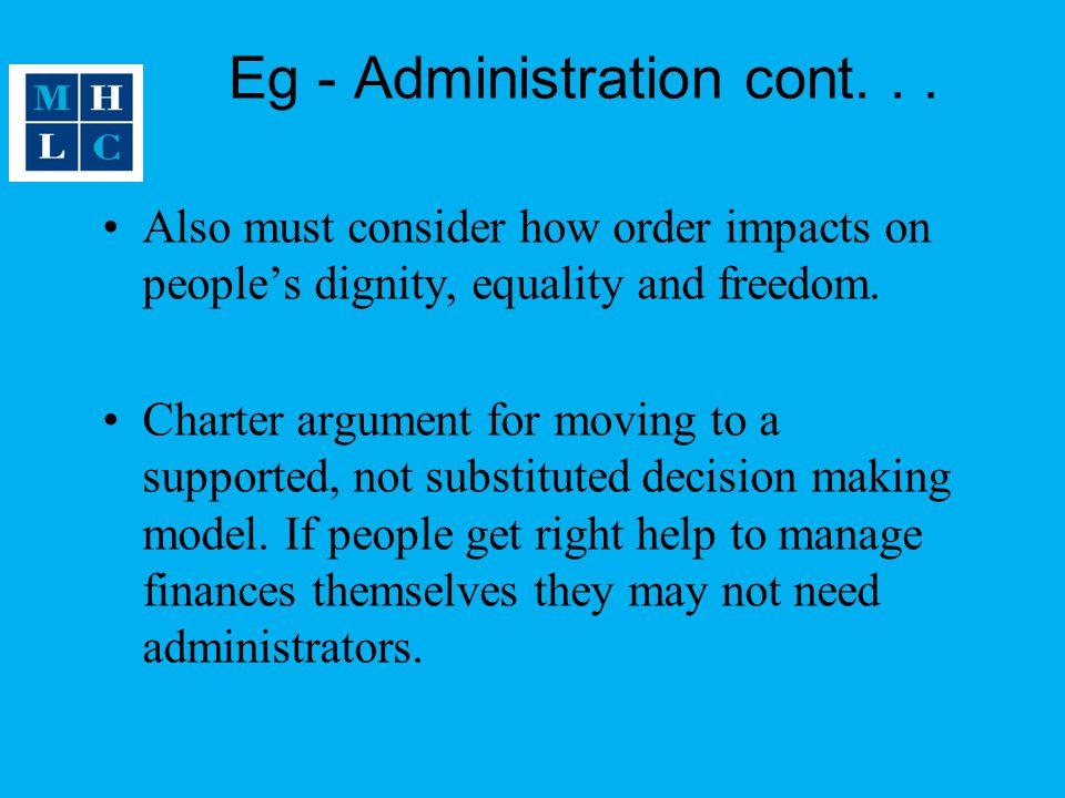 Eg - Administration cont. . .