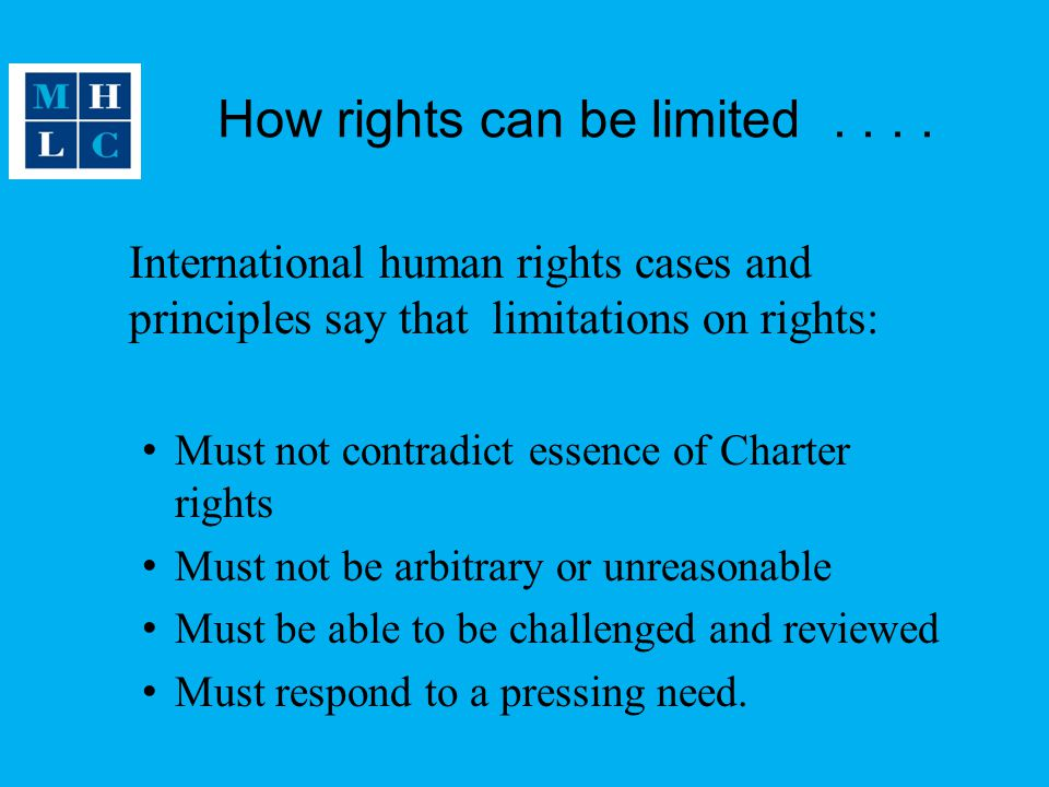 How rights can be limited . . . .