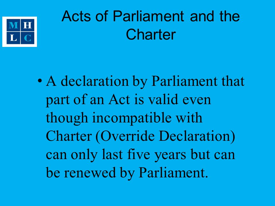 Acts of Parliament and the Charter
