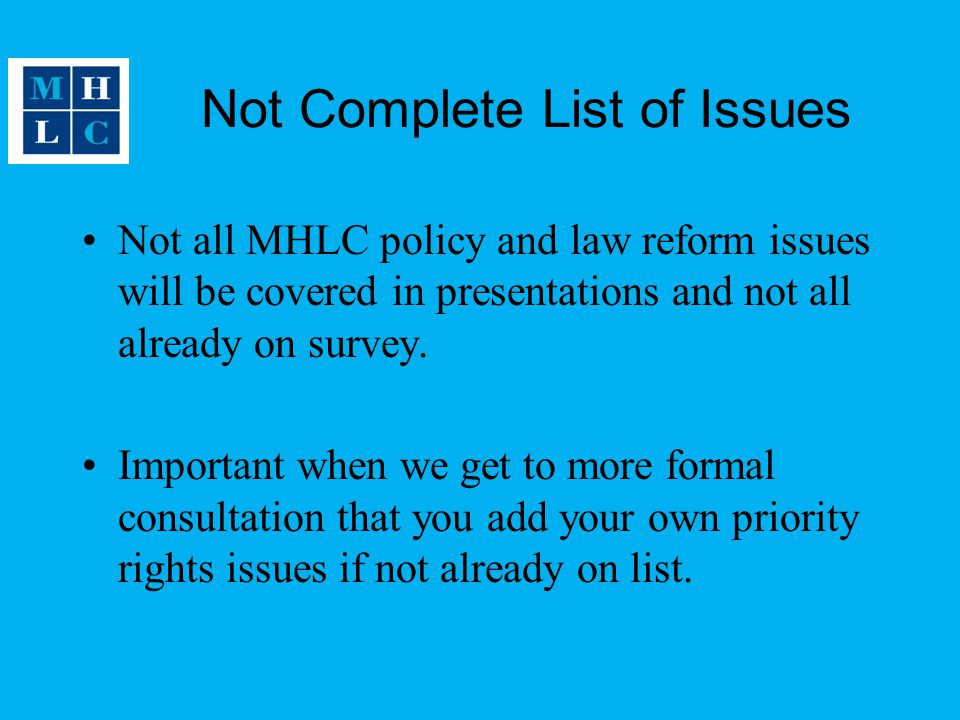 Not Complete List of Issues