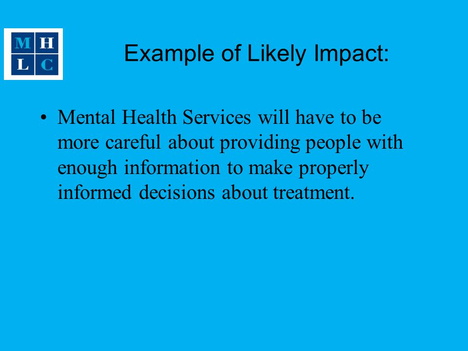 Example of Likely Impact: