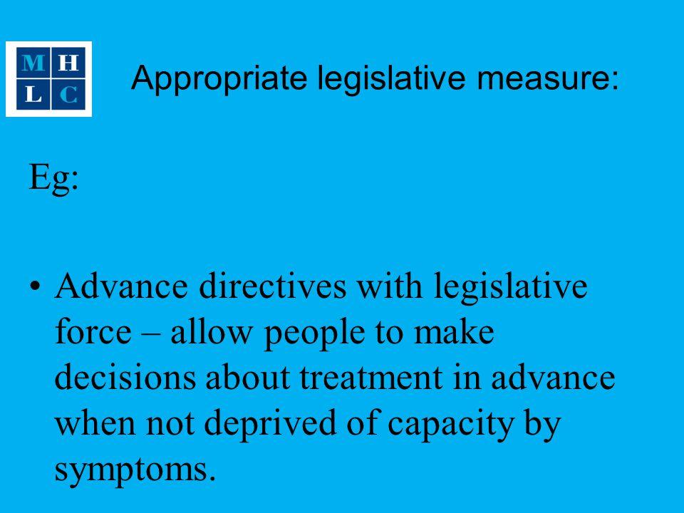 Appropriate legislative measure: