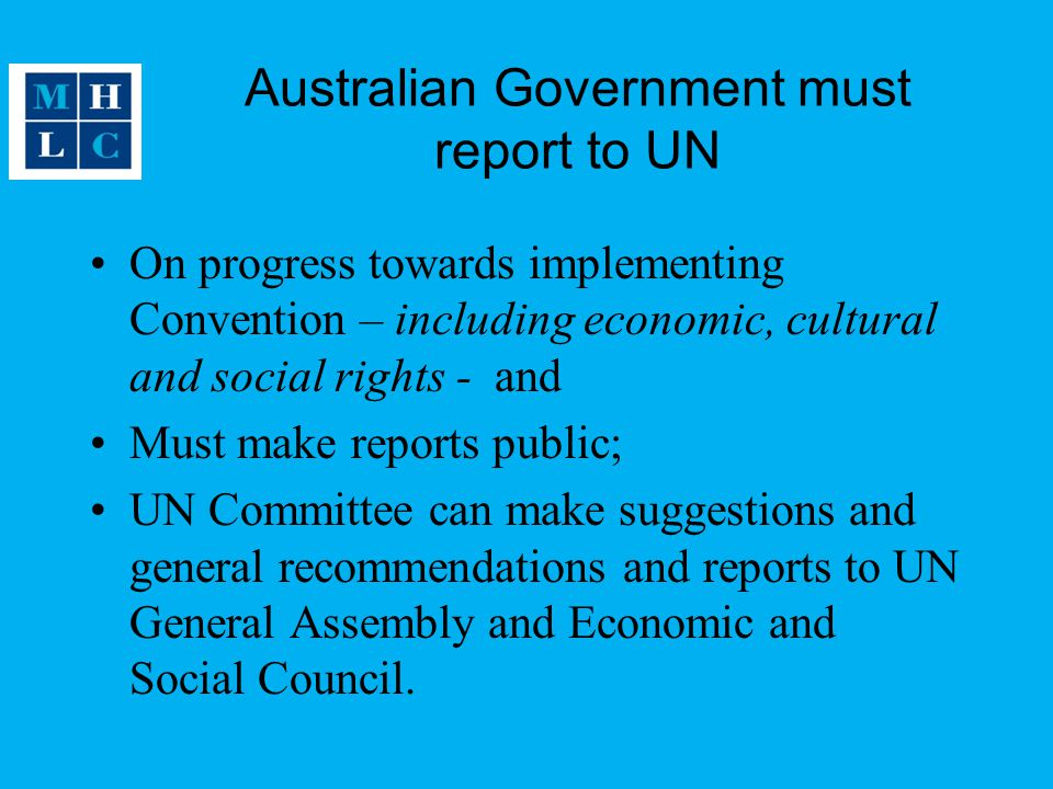 Australian Government must report to UN