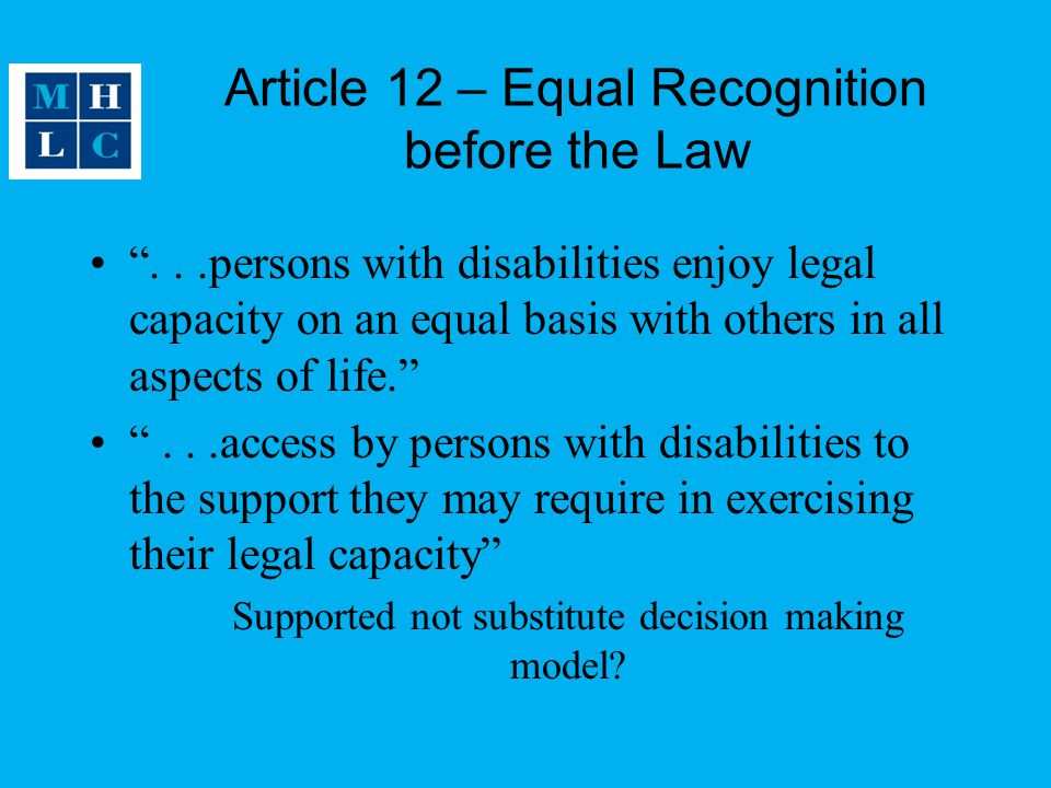 Article 12 – Equal Recognition before the Law